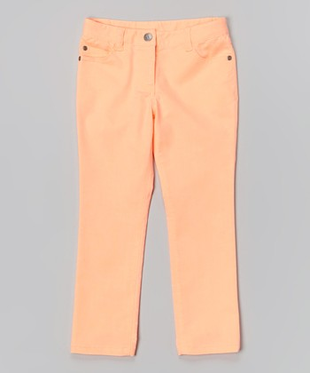 Neon Orange Stretch Jeans - Toddler & Girls