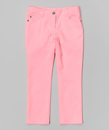 Neon Pink Stretch Jeans - Girls