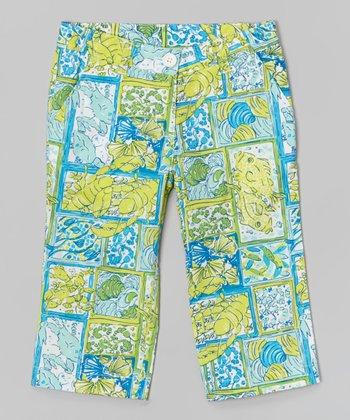 Yellow-Green Sea Creatures Capri Pants - Toddler & Girls