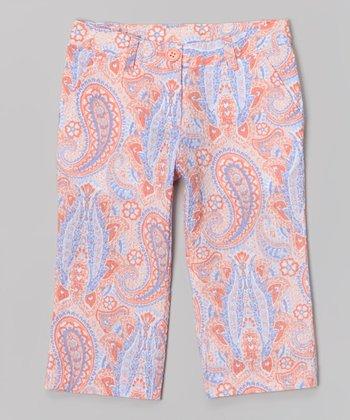 Coral Paisley Capri Pants - Toddler & Girls