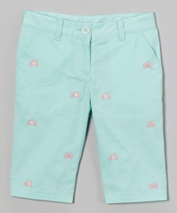 Mint & Pink Crab Embroidered Capri Pants - Toddler & Girls