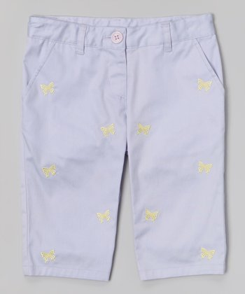 Lilac & Green Butterfly Embroidered Capri Pants - Toddler & Girls