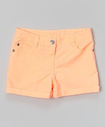 Neon Orange Shorts - Girls