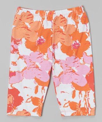 Orange Splashy Flower Leggings - Toddler & Girls