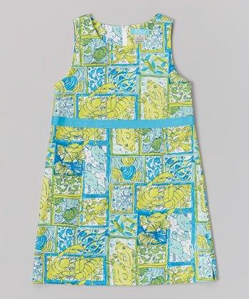 Yellow-Green Sea Creatures Carrie Dress - Toddler & Girls