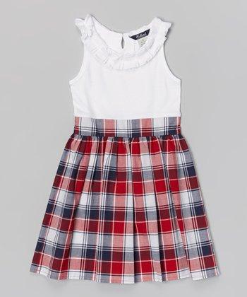White & Red Plaid Phoebe Dress - Toddler & Girls