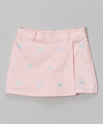Pink & Blue Crab Embroidered Skirt - Toddler & Girls