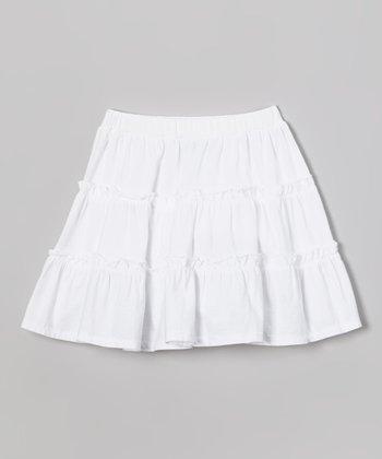 White Tiered Skirt - Toddler & Girls
