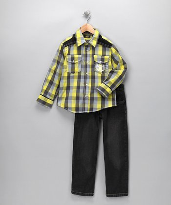 Yellow Plaid Button-Up & Jeans - Toddler
