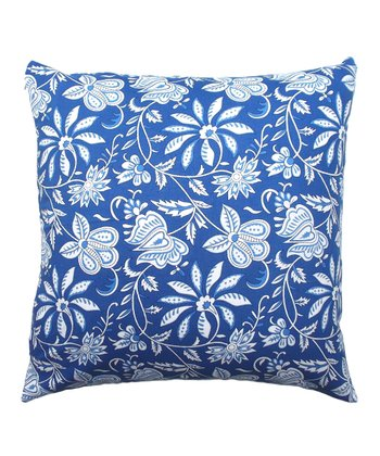 Blue Floral Tamarindo Throw Pillow
