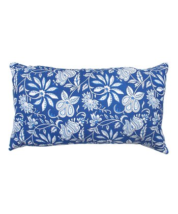 Blue Floral Tamarindo Rectangular Throw Pillow
