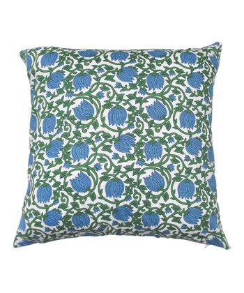 Blue & Green Blooming Vine Tamarindo Throw Pillow