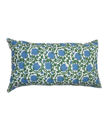 Blue & Green Blooming Vine Tamarindo Rectangular Throw Pillow