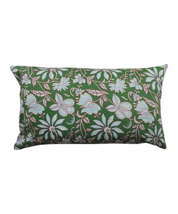 Green Floral Tamarindo Rectangle Pillow