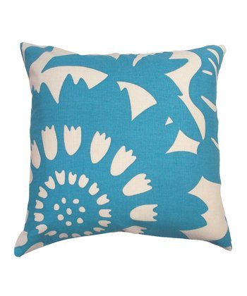 Blue Bold Floral Karma Throw Pillow