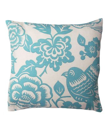 Blue Floral Karma Throw Pillow