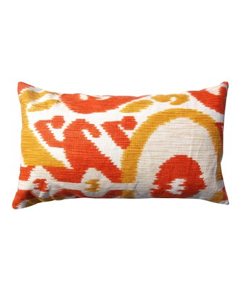 Orange & Red Abstract Karma Rectangular Down Throw Pillow