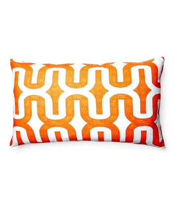Orange & White Geometric Down Rectangular Throw Pillow