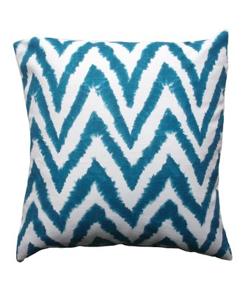 Blue & White Jagged Zigzag Down Throw Pillow