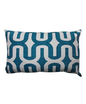 Blue & White Geometric Down Rectangular Throw Pillow