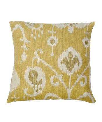 Yellow Ikat Down Throw Pillow