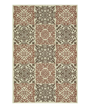 Ivory & Rust Filigree Augusta Indoor/Outdoor Rug