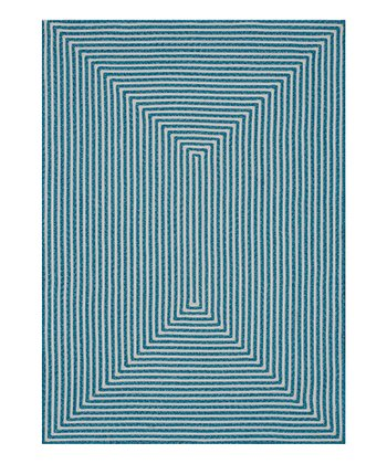 Aqua Stripe Indoor/Outdoor Rug