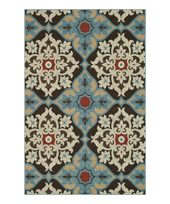 Chocolate & Blue Arbor Indoor/Outdoor Rug