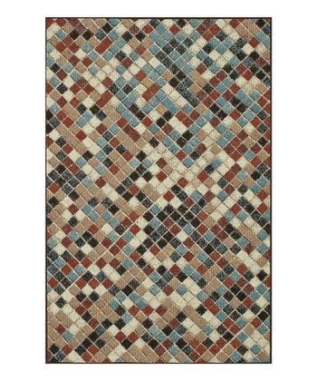 Chocolate & Blue Box Arbor Indoor/Outdoor Rug