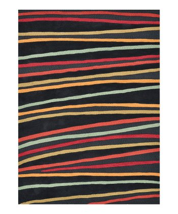 Black & Red Stripe Aurora Rug