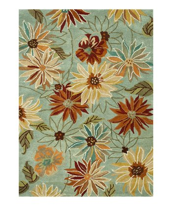 Blue Floral Bloom Wool Rug