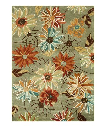 Gray Floral Bloom Wool Rug