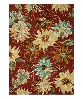Red Floral Bloom Wool Rug