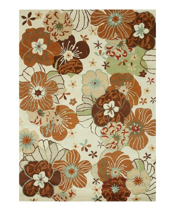 Ivory Floral Bloom Wool Rug