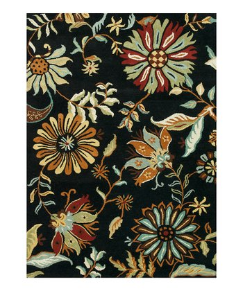 Black Floral Bloom Wool Rug