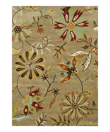 Light Brown Floral Bloom Wool Rug