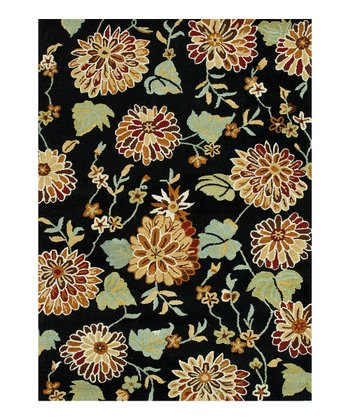 Black & Sage Bloom Wool Rug