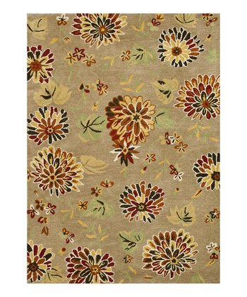 Light Brown & Rust Floral Bloom Wool Rug
