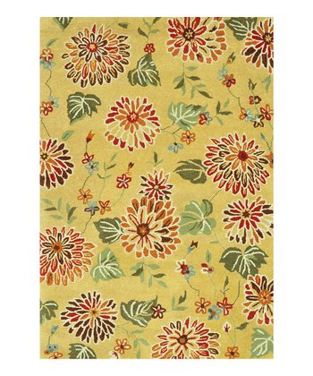 Beige Floral Bloom Wool Rug