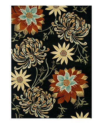 Black & Beige Floral Bloom Wool Rug