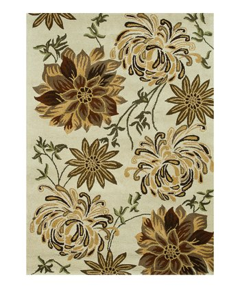 Ivory & Light Brown Bloom Wool Rug