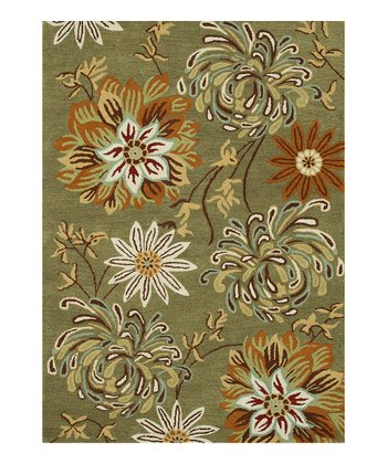 Olive & Beige Floral Bloom Wool Rug