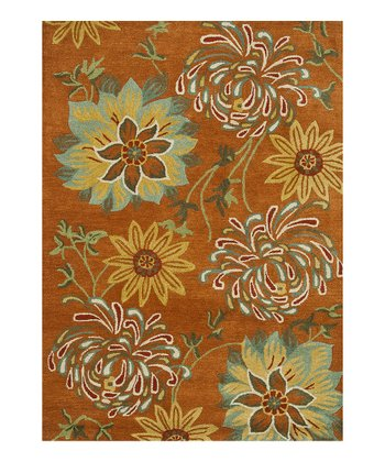 Orange & Blue Floral Bloom Wool Rug