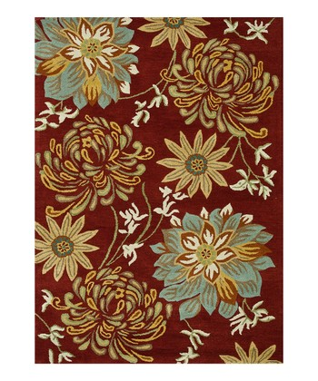 Red & Beige Floral Bloom Wool Rug