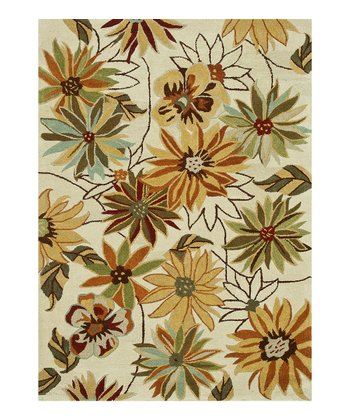 Ivory & Orange Floral Bloom Wool Rug