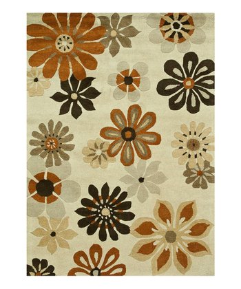 Ivory & Brown Bloom Wool Rug