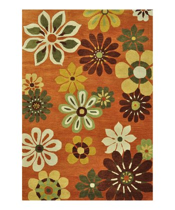 Orange Floral Bloom Wool Rug