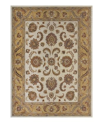 Beige & Gold Maple Rug