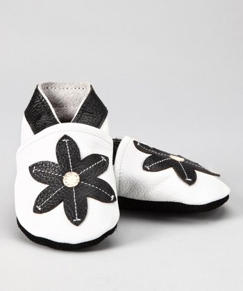 White & Black Flower Booties