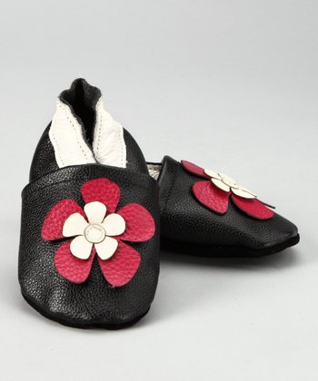 Black & Pink Flower Booties